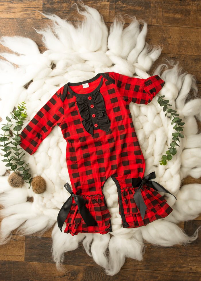 Buffalo Plaid Ruffle Jumpsuit