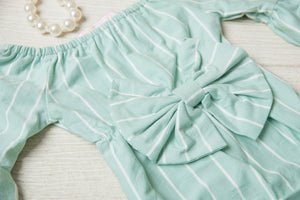 Kryssi Kouture Oh that Bow Sea Foam Stripe Bell Sleeve Romper