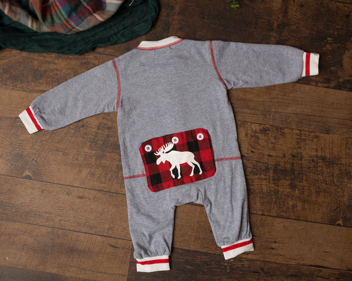 Moose Buffalo Plaid Infant Jumpsuit Pjs