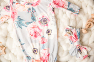 Grey Floral NB Sleep Sack/Bag