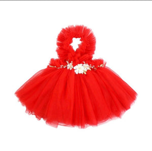 NEWEST EDITION-  Kryssi Kouture Girls Ruffled Tulle Red Swan Dress