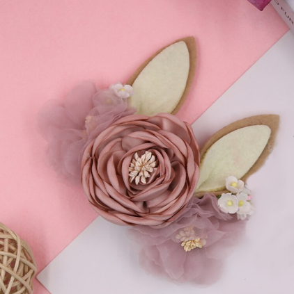 Girls Sweetest Bunny Ears Dusty Rose Easter Floral Headband