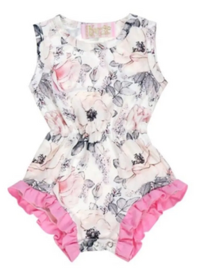 Kryssi Kouture Ruffled Vintage Grey Floral Sleeveless Romper