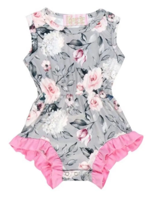 Kryssi Kouture Ruffled Pink & Grey Floral Sleeveless Romper