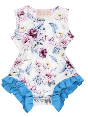 Kryssi Kouture Purple & Blue Botanical Sleeveless Romper