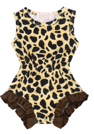 Kryssi Kouture Ruffled Leopard Sleeveless Romper