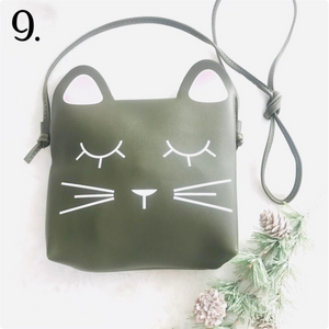 army Green Girls Cat Purse