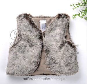 Pre-Order US ONLY - Baby Girl Boho Faux Fur Fall Vests -The Faux Fur Vest - Baby Vest - Kids Vest - shower gift - birthday present-Baby Clothing -modern faux fur -shrug - vest - Ruffles & Bowties Bowtique - 7