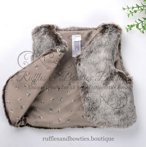 Pre-Order US ONLY - Baby Girl Boho Faux Fur Fall Vests -The Faux Fur Vest - Baby Vest - Kids Vest - shower gift - birthday present-Baby Clothing -modern faux fur -shrug - vest - Ruffles & Bowties Bowtique - 9