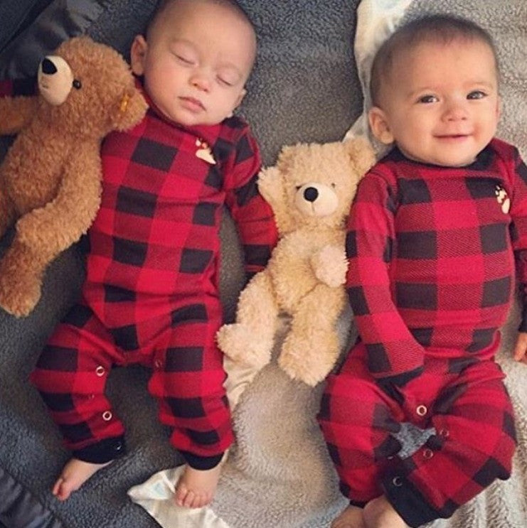 Baby Buffalo Plaid Bear Cheeks Lazy One Pajamas Bear