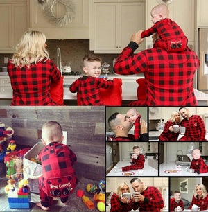 PRE ORDER - Lazy One Youth & Adult Buffalo Plaid BEAR CHEEKS Flapjack Matching Christmas Pj's - Ruffles & Bowties Bowtique - 2