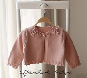 Spencer Dusty Rose Floral & Pearl Sweater, Fall - Ruffles & Bowties Bowtique