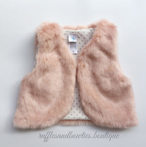 Pre-Order US ONLY - Baby Girl Boho Faux Fur Pink Fall Vests -The Faux Fur Vest - Baby Vest - Kids Vest - shower gift - birthday present-Baby Clothing -modern faux fur -shrug - vest - Ruffles & Bowties Bowtique - 1