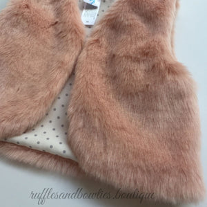 Pre-Order US ONLY - Baby Girl Boho Faux Fur Pink Fall Vests -The Faux Fur Vest - Baby Vest - Kids Vest - shower gift - birthday present-Baby Clothing -modern faux fur -shrug - vest - Ruffles & Bowties Bowtique - 2