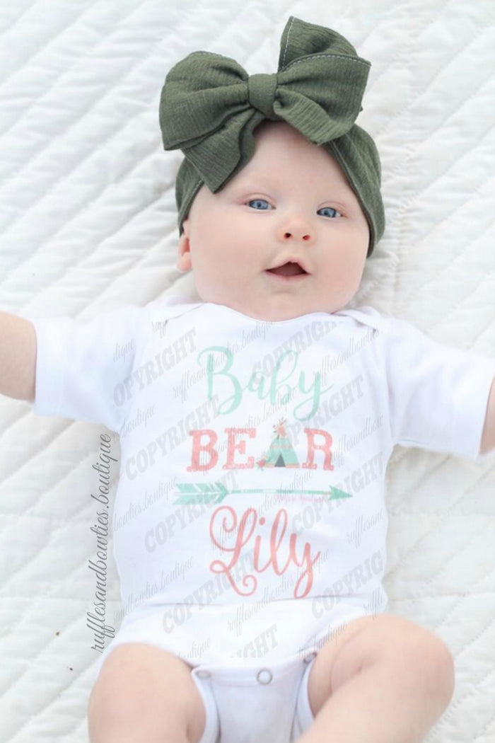 Baby Bear Baby Shirt -Bohemian Baby- Newborn Shirt - Coming Home Outfit - Teepee Shirt -  Boho Baby - Boho Onesie - Arrow Shirt -Shower Gift
