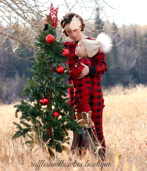 Lazy One Youth & Adult Buffalo Plaid BEAR CHEEKS Flapjack Matching Christmas Pj's - Ruffles & Bowties Bowtique - 1