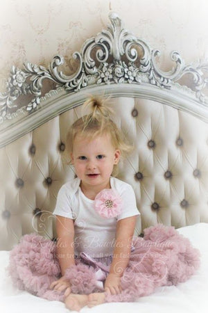 Dusty Rose Minnie Petti Skirt With Built In Diaper Cover - Ruffles & Bowties Bowtique - 3