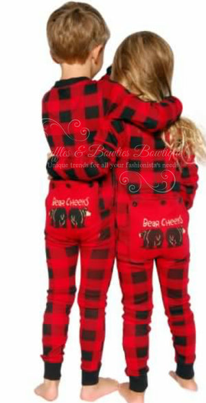 PRE ORDER - Lazy One Youth & Adult Buffalo Plaid BEAR CHEEKS Flapjack Matching Christmas Pj's - Ruffles & Bowties Bowtique - 6