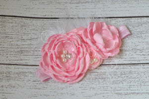 Pink Flower with Feather & Lace Headband - Ruffles & Bowties Bowtique - 2