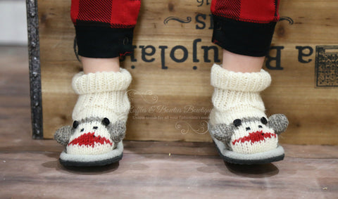 Knitwit Wool Slipper Boots - Sock Monkey