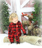 PRE ORDER - Lazy One Infant & Kids Buffalo Plaid BEAR CHEEKS Flapjack Matching Christmas Pj's - Ruffles & Bowties Bowtique - 2