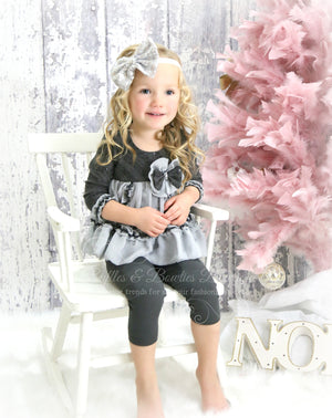 Designer Isobella & Clohe Holiday 2 Piece Grey Outfit,  - Ruffles & Bowties Bowtique