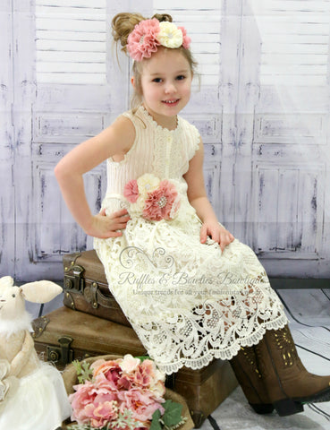 PRE ORDER - Girls Cream Lace Vintage Dress - Perfect for a Summer Wedding