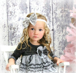 Designer Isobella & Clohe Holiday 2 Piece Grey Outfit - Ruffles & Bowties Bowtique - 3