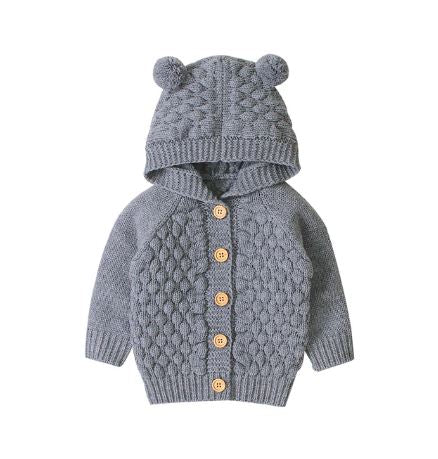 Grey Infant Knitted Bear Pom Sweater
