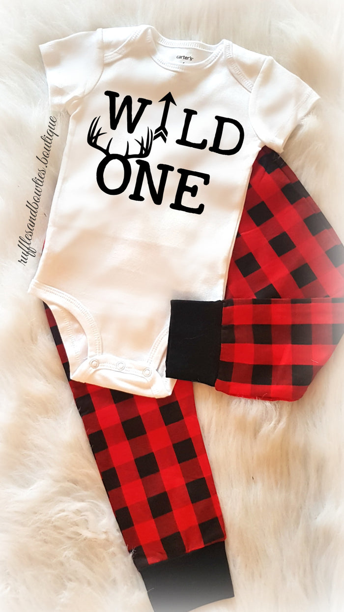 Wild One Birthday Buffalo Plaid Onesie