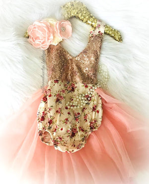Kryssi Kouture Exclusive and Original Abigail Cream Plum Peach Rose & Gold Floral Vintage Birthday Tutu Romper