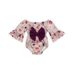 Kryssi Kouture Girls Mocha Rose Off Shoulder Bow Romper