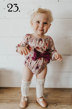Tan Rose Pom Romper with Maroon Bow