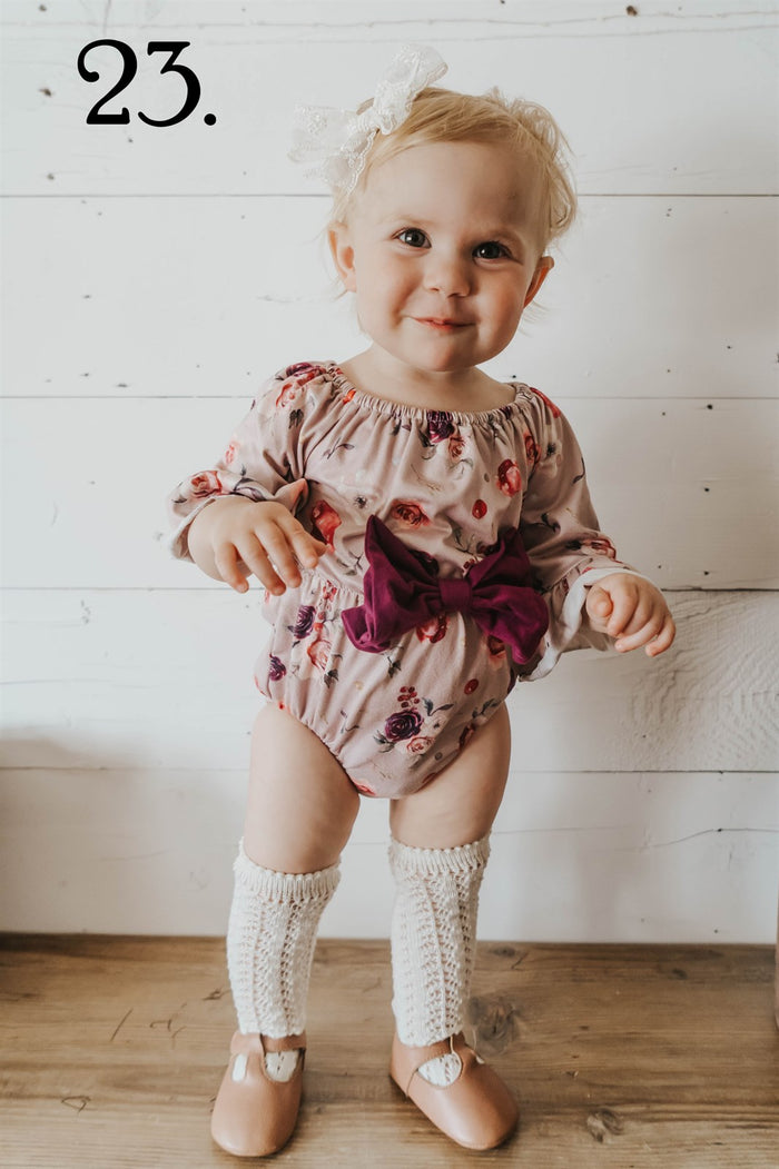 Tan Rose Romper with Maroon Bow