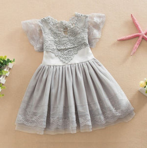 Hazel Vintage Lace Holiday Dress - Holiday Dress - Girls Grey Vintage Holiday Dress - Birthday Dress - Dress Boutique