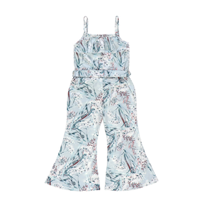 Winter Floral Button Front Tie-Waist Jumpsuit