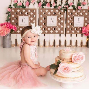 Kryssi Kouture Exclusive Birthday Vintage Rose & Lace Tutu Romper