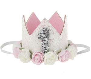 Girls Pink and White First Birthday Sparkling Glitter Floral birthday Crown ONE
