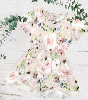 Tan & Pink Floral Spring Skirted Romper