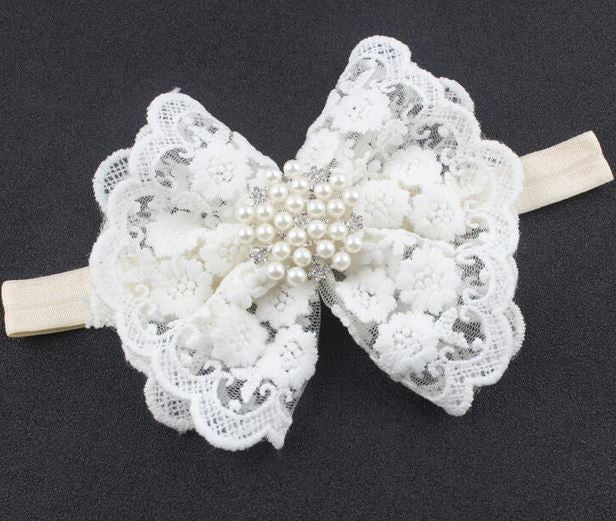 Vintage Ruffle Bow with Accented Pearls headband