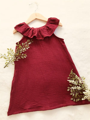 Burgundy Muslin Linen Fall Dress