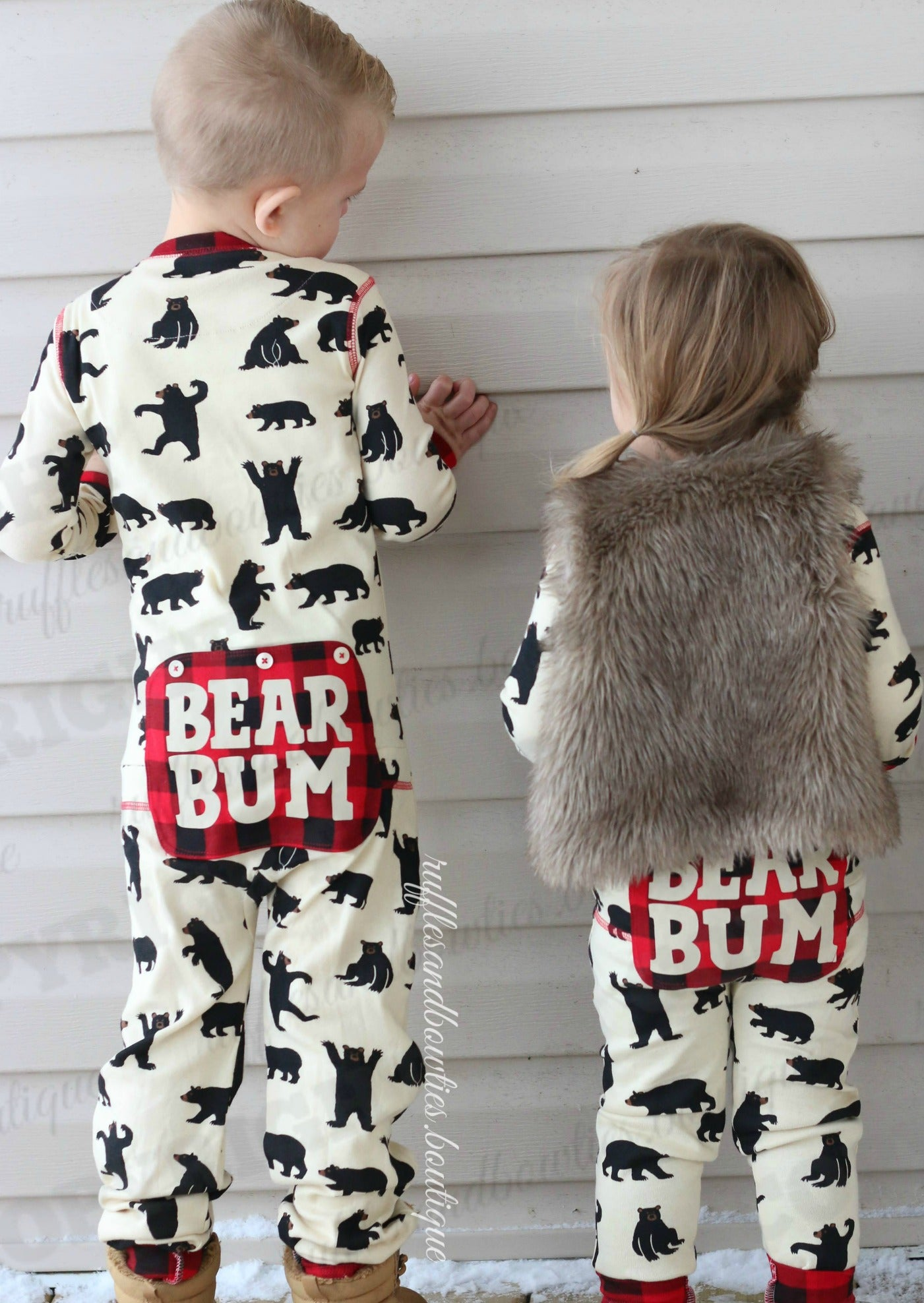 black bear and buffalo plaid bear bum family matching onesies longjohns union suits by hatley