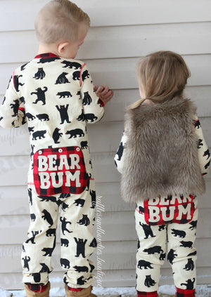 Hatley Bear Bum Kids Fun Winter & Holiday Pajamas & Pjs