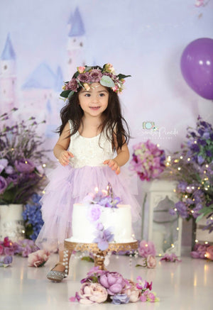 Kryssi Kouture Veronica Soft White Eyelash no Sleeve Lace with Purple Short Tutu Skirt - Princess Dress