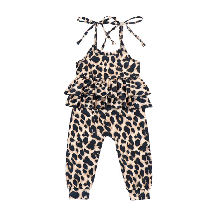 Leopard Ruffle Knotted Jumpsuit
