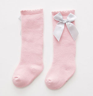 Baby Girls Pink with Grey Bow Knee Highs