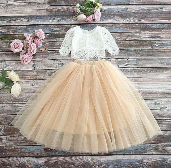 CHAMPAGNE - Sarah Lee 2 Pc Long Sleeve Lace Top and Tulle Skirt Flower Girl Set