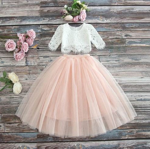 BLUSH - Sarah Lee 2 Pc  Long Sleeve Lace Top and Tulle Skirt Flower Girl Set