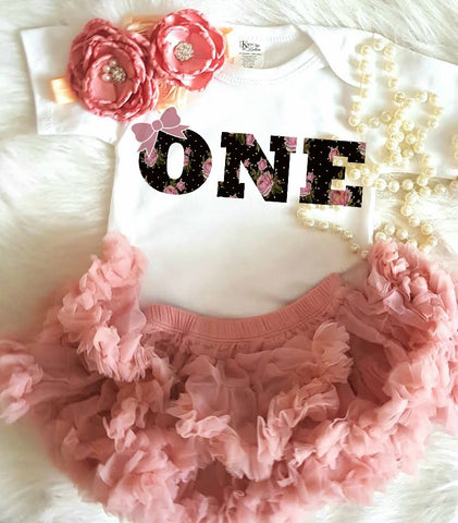 "Vintage Black & Dusty Rose Floral Birthday ONE Shirt - Baby Birthday ""One"" Black & Dusty Pink Floral Onesie/Shirt - Baby First Birthday Shirt - Etsy Baby Birthday Shirt"