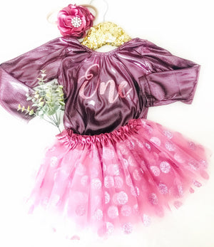 *NEW* Kryssi Kouture First Birthday Shimmer Leo & Sparkle Polka Dot Tutu Set